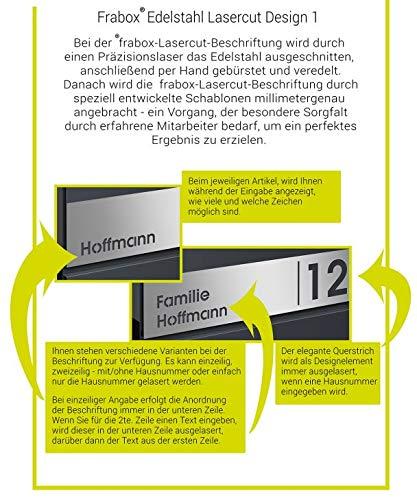 Frabox® Design Paketkasten NAMUR anthrazitgrau RAL 7016 / Edelstahl mit Hausnummer & Namen - 8