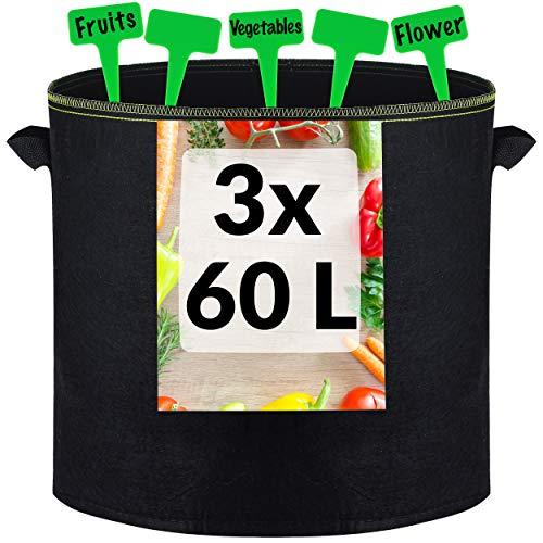 3 Vasi Geotessile da 60L con Maniglie e 3 Cartellini per Etichettare - Per Coltivare Patate, Pomodori, Zucchine, Carote