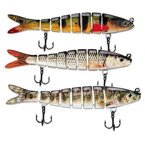 ods lure Esca da Pesca per spigole 8 segmenti Multi Swimbait Kit Esche ad Affondamento Lento con ami da Pesca (D8J01-374-388-379)