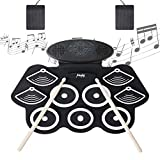 Electronic Drum Set, Mugig Electronic Drum Kit, Roll Up 9 Pads Drum Set for Kids Adult Beginner, Kids Electronic Drum Set Portable Practice Pad Kit With Foot Pedals