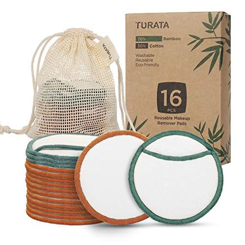 Waschbare Abschminkpads TURATA 16 Stücks Reinigungspads Wiederverwendbare Wattepads Make Up Entferner Pads aus Bambus & Baumwolle mit Wäschebeutel Umweltfreundlich Abschminktücher