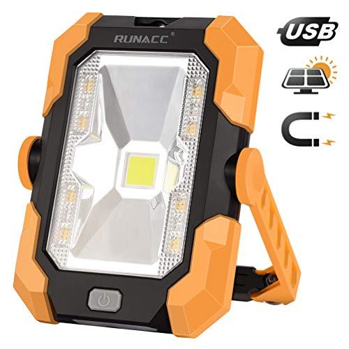 RUNACC Led Baustrahler Akku Solar Arbeitsleuchte USB Wiederaufladbares Tragbares Wasserdichter Solarenergie LED Strahler Akku Flutlicht Ständer-Arbeitslicht mit 360° Drehung,1000 Lumen, 4 Modi