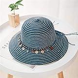 Sombrero de paja para mujer, de ala grande, plegable, para verano, para playa, para senderismo, al aire libre, sombrero, visera para lavabo, para mujeres y niñas (color: cian)