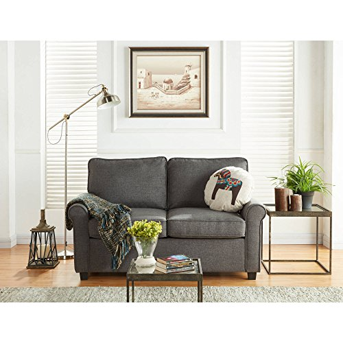 Mainstay Sofa Sleeper with Memory Foam Mattress | No-Tool Easy Assembly (Grey)
