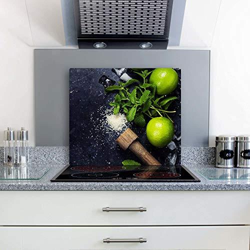 gsmarkt | Herdabdeckplatten Ceranfeldabdeckung Spritzschutz Glas 60x52 Zitrone Grün Minze