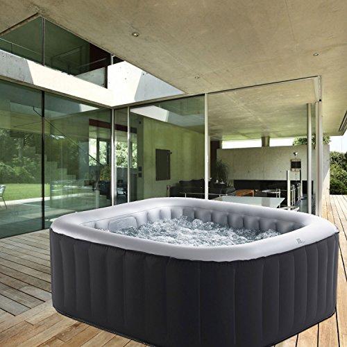 Whirlpool MSpa aufblasbar für 4 Personen 158x158cm In-Outdoor Pool 108 Massagedüsen Timer Heizung Aufblasfunktion per Knopfdruck Bubble Spa Wellness Massage