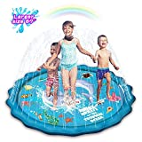 Abida Splash Pad, 67' Outside Sprinkler Play Mat for Kids, Extra Large Party Infant Wading Pool Fun Summer Outdoor Water Toys for 2-12 Years Old Baby and Toddler Girls and Boys