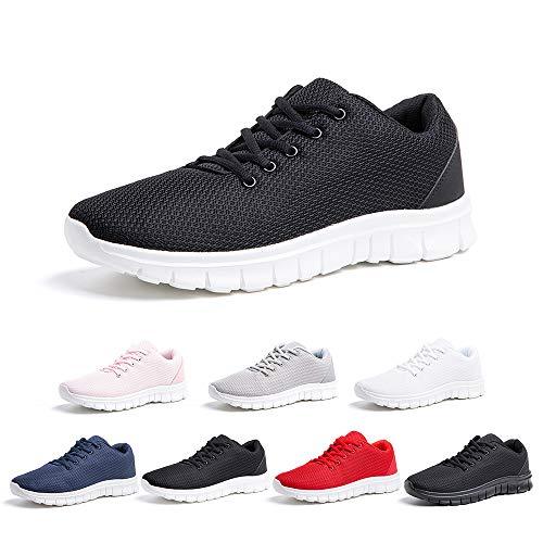 Zapatillas Running Hombre Mujer Zapatos Deportivos con Cordones Casuales Sneakers Sport Fitness Gym Outdoor Transpirable Comodas Calzado Negro Blanco Talla 41