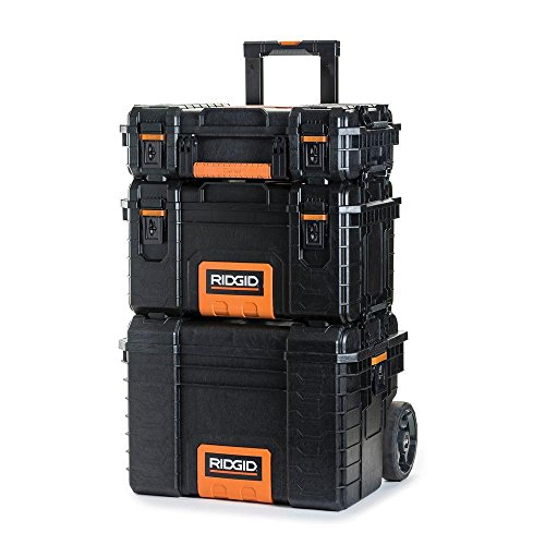 RIDGID Professional Tool Storage Cart And Organizer Stack, 3 Tool Box...