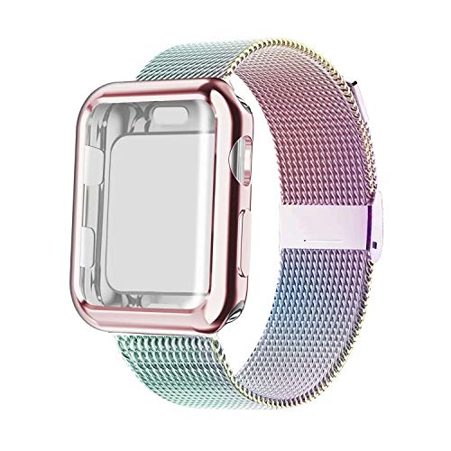 YC YANCH Compatible with Apple Watch Band 40mm with Case, Stainless Steel Mesh Loop Band with Apple Watch Screen Protector Compatible with iWatch Apple Watch Series 1/2/3/4/5 (40mm Colorful)