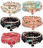 FIBO STEEL 6 Sets Bohemian Stackable Bead Bracelets for Women Stretch Multilayered Bracelet Set Multicolor Jewelry