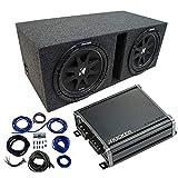 Dual 12' Kicker CompC Sub Package with Kicker 46CXA400.1 Amp & Vented Enclosure