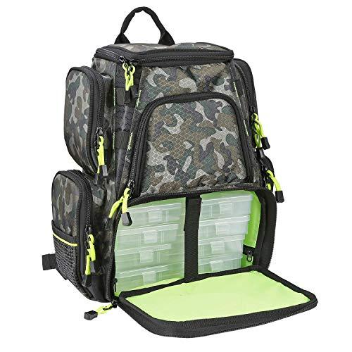 SeaKnight Sac à dos de pêche étanche avec 4 plateaux, sac de rangement multifonction pour la pêche, le camping, la randonnée, le cyclisme (vert25...
