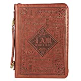 Christian Art Gifts Men's Classic Bible Cover Names of God Exodus 34:6, Brown Faux Leather, Medium