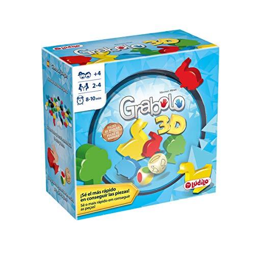Lúdilo- Grabolo Educativo para Jugar en Familia, Mesa para niños, Figuras 3D, Agilidad Mental, Juego Habilidades cognitivas de Madera (80871)