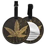 Name Tag For Travel Bags Cannabis Leaf Grunge Icon Stained Texture ID Tags For Travel Name Tags For Travel Bags with Adjustable Black Strap For Bags & Baggage with Privacy Protection For Women Men