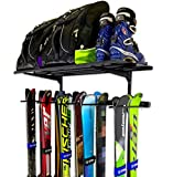 StoreYourBoard Ski Wall Rack and Storage Shelf, Holds 10 Pairs, Ski Wall Mount, Home and Garage Storage Hanger