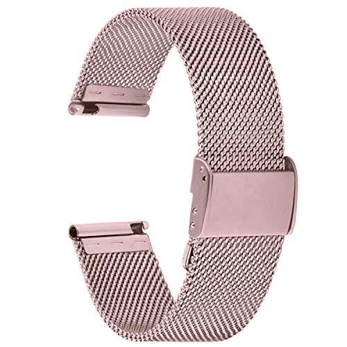 Fullmosa Cinturino per Orologio 18mm, Cinturini in Acciaio Inossidabile di Ricambio Compatibile con Orologi ASUS Zenwatch/Huawei, per Donna e Uomo, Rosa Rosso 18mm