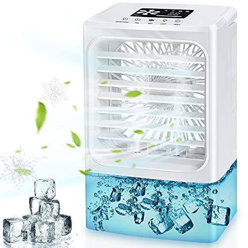 Climatiseur Portable, 2021 Dernière Climatiseur Mobile, 4 en 1 Refroidisseur d'air Ventilateur Humidificateur Purificateur, réservoir d'eau 600 ml, 4 vitesses et 2 nébulisation, 7 lumières LED