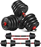 MOVTOTOP Adjustable Free Weights Barbell Dumbbells Set, 44/66 lbs 2 in 1 Dumbbells with Connecting Rod Used As Barbell for Men and Women Exercise Training Home Workout (Red)