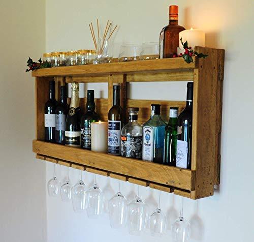 Rastrelliera portabottiglie per vino, whisky, gin e altre bevande, cantinetta a mensola per gin e whisky, realizzata in legno per pallet riciclato