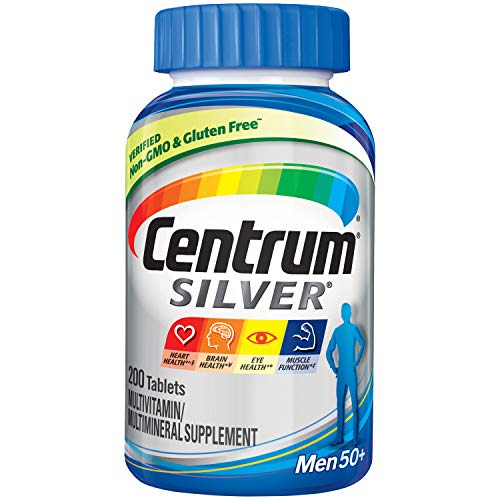 Centrum Silver Multivitamin for Men 50 Plus, Multivitamin/Multimineral Supplement with Vitamin D3, B Vitamins and Zinc - 200 Count
