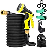 ABC life 50ft Garden Hose Expandable Hose, Lightweight Garden Water Hose with 9 Function Nozzle, Superior Strength 3750D/3-Layers Latex/Extra-Strong Brass Connectors,Durable Gardening Flexible Hose