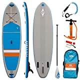 BIC Sport 102409 10'6' Inflatable Stand Up Paddle Board with Premium SUP Accessories - Adjustable SUP Paddle, Pump & Gauge, Leash, Backpack, Blue/Grey/Orange, 10'6' x 33' x 4.75'