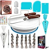 RFAQK 64 Pcs Cake decorating supplies with Cake Turntable-Cake leveler- 24 Numbered Icing Piping Tips with Pattern Chart and EBook- Straight & Angled Spatula-30 Icings Bags- 3 Icing Comb Scraper set