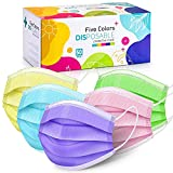 Disposable Face Masks, 50 Pack Colorful Face Mask, Neon Face Mask Disposable for Women and Men