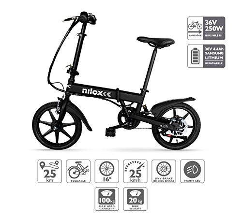 Nilox E Bike 36 V 16 P-X2 Bicicleta Eléctrica, Unisex Adulto, Negro,...