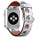 [ Compatible Small Apple Watch 38/40 mm ] Replacement Leather Band Bracelet Strap Wristband Accessory // Pretty Pug Puppy Pattern