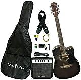 Glen Burton GA204BCO-BK Acoustic Electric Cutaway Guitar, Black