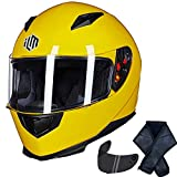 ILM Full Face Motorcycle Street Bike Helmet with Removable Winter Neck Scarf + 2 Visors DOT (M, Yellow)