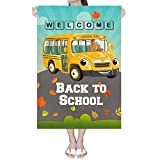 Deloky 28' x 40' Welcome Back to School Garden Flag -Double-Sided Yellow School Bus Decorative Yard Burlap Flag,Shool Bus Garden Banner for Indoor Outdoor Decoration(Large Size)