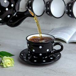 Black Polka Dot 12oz Coffee Tea Cup