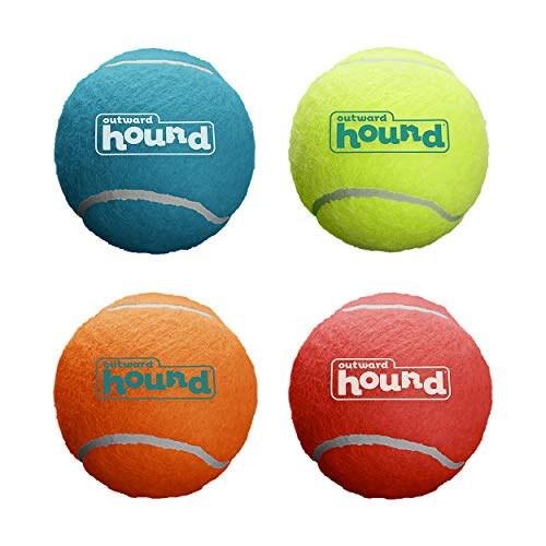 Outward Hound Squeaker Ballz Squeaky Tennis Ball Dog Toys, Large, 4 Pack, Multicolor