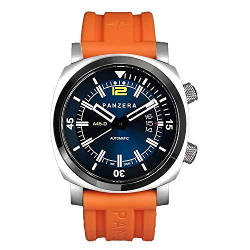 Panzera Aquamarine Pro Diver Infinity Blue Sunset Automatik Stahl Orange Datum Silikon Saphir Uhr Herren
