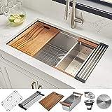 Ruvati 32-inch Workstation Ledge Undermount 16 Gauge Stainless Steel Kitchen Sink Single Bowl - RVH8300