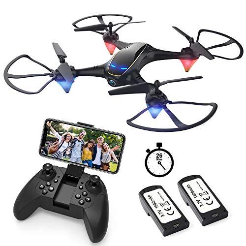 EACHINE E38 Drone con Telecamera HD 720MP WiFi e FPV App 2 Batteria Funzione di Sospensione Altitudine Headless Mode e Ritorno con Un Solo Tasto e Prezzo Contenuto (Nero)