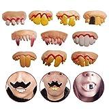 Odowalker 10 Pcs Fake Teeth Toy Funny Fake False Teeth Vampire Denture Teeth Halloween Decoration Props Costume Party Funny Gag Gift