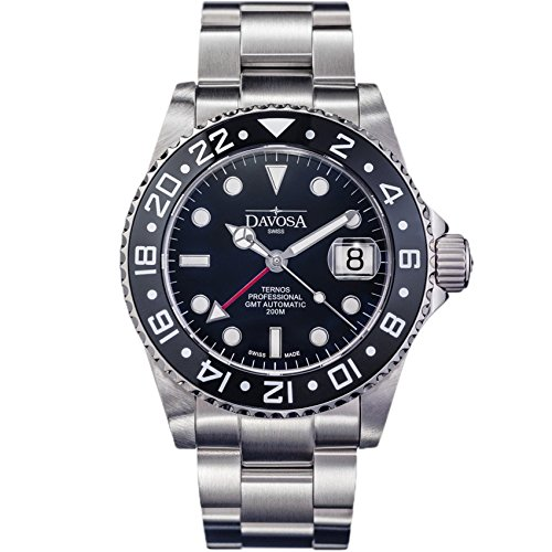 Davosa Professionelle Herren-Armbanduhr, Ternos automatische beleuchtete Analoganzeige mit GMT Dual Time, stilvolles Armband und Keramik-Lünette, Schwarz , Taucher