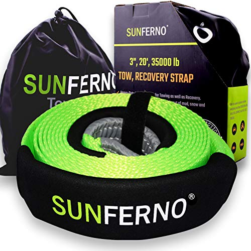 Sunferno Recovery Tow Strap 35000lb - Recover Your Vehicle Stuck...