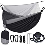 Camping Hammock with Net, Travel Portable Lightweight Hammock with Tree Straps and D-Shape Carabiners, Parachute Nylon Hammock for Outsides Backpacking Beach Backyard Patio Hiking, Black & Grey