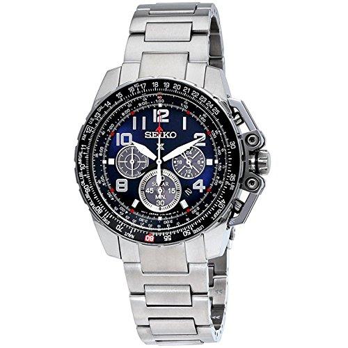 Seiko Chronograph Solar Stainless Steel Black Dial Men's Watch SSC275