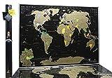 MyMap Carte du Monde à gratter en Allemand – Carte du Monde Noire – Carte du Monde – Qualité...
