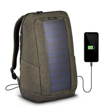 Sunnybag ICONIC solar portable backpack charger in olive brown | 7 Watt water resistant solar panel | Charge all Smartphones and portable USB devices | 20L volume