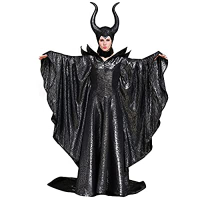 Imported Material:100% Polyester Hand Wash Recommended Horn-shaped headpiece included Maleficent costume featuring black dress with sculpted shoulders, brooch at neckline,dramatic bell sleeves and long trailing.