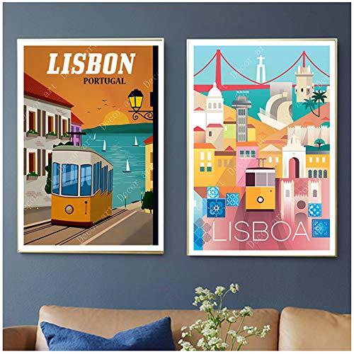 Art Lisbonne Voyage Toile Peintures Vintage Mur Kraft Affiches Enduit...