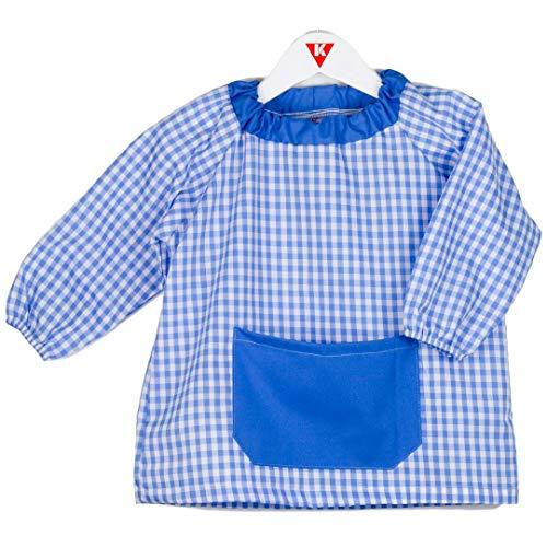 KLOTTZ PONCHO - Babi poncho sin botones guardería. Bata escolar cómoda de vestir perfecta para comedores y colegios. bebé-niños color: CELESTE talla: 5